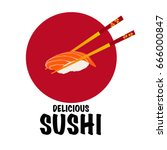 chopsticks holding sushi roll... | Shutterstock .eps vector #666000847