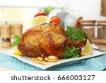 homemade baked chicken with... | Shutterstock . vector #666003127