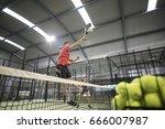 man smashing in paddle tennis... | Shutterstock . vector #666007987