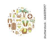summer vacation beach icon...   Shutterstock .eps vector #666009097