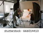 creative team shooting... | Shutterstock . vector #666014413