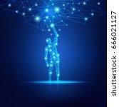 concept of cloud technology ... | Shutterstock .eps vector #666021127