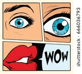 comic storyboard woman wow... | Shutterstock .eps vector #666036793