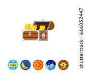 gold chest icon | Shutterstock .eps vector #666052447