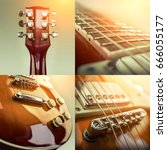 rock guitar. collage of close... | Shutterstock . vector #666055177