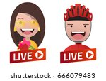 red gradient live stream sign... | Shutterstock .eps vector #666079483