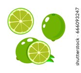 set slices of lime isolated on... | Shutterstock .eps vector #666093247