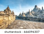 stupa in borobudur  ancient... | Shutterstock . vector #666096307