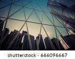 glass facade of modern... | Shutterstock . vector #666096667