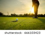 golfer putting golf ball on the ... | Shutterstock . vector #666103423