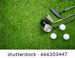 golf club driver  iron wage ... | Shutterstock . vector #666103447