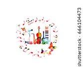 music instruments background.... | Shutterstock .eps vector #666104473