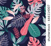 painted tropical exotic leaves... | Shutterstock .eps vector #666114007