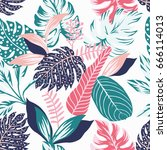painted tropical exotic leaves... | Shutterstock .eps vector #666114013