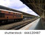 diesel passenger train is...   Shutterstock . vector #666120487