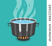 boiling water in pan. cooking...   Shutterstock .eps vector #666121663