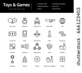 toys and games line icons | Shutterstock .eps vector #666123403