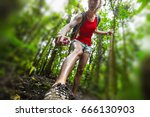 woman hiker applying mosquito... | Shutterstock . vector #666130903