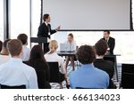 speaker at business conference... | Shutterstock . vector #666134023
