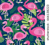 seamless pattern with flamingo  ... | Shutterstock .eps vector #666138223