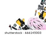 set of bicycle accessories on... | Shutterstock . vector #666145003