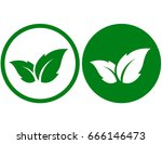 eco icon with green leaf in... | Shutterstock .eps vector #666146473
