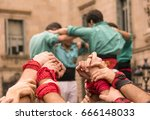 human tower   castellers in...   Shutterstock . vector #666148033