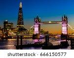 tower bridge and shard in... | Shutterstock . vector #666150577