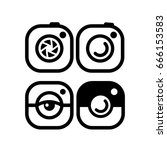 set of photo camera icons... | Shutterstock .eps vector #666153583