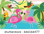 animals in tropical nature  ... | Shutterstock .eps vector #666166477
