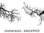 realistic tree silhouette ... | Shutterstock .eps vector #666169423
