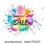 color spots. summer sale text.... | Shutterstock .eps vector #666179227