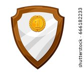 wood plaque award board with... | Shutterstock .eps vector #666182233