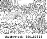 beautiful mermaid sleeping on... | Shutterstock .eps vector #666183913