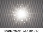 white glowing light burst... | Shutterstock .eps vector #666185347