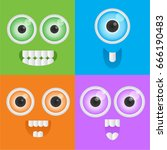 colourful cute monster faces | Shutterstock .eps vector #666190483