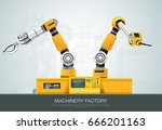 industrial machine robotic... | Shutterstock .eps vector #666201163
