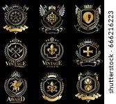 heraldic vector signs decorated ...   Shutterstock .eps vector #666216223