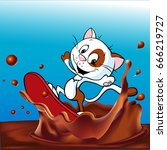 cute cat surfing on chocolate... | Shutterstock .eps vector #666219727