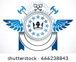 winged classy emblem  vector... | Shutterstock .eps vector #666238843