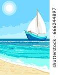 summer landscape with cartoon... | Shutterstock .eps vector #666244897
