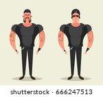 funny cartoon characters  ... | Shutterstock .eps vector #666247513