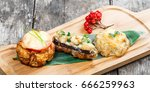 beef steak and chicken breast... | Shutterstock . vector #666259963