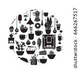 coffee elements.  black... | Shutterstock .eps vector #666267517