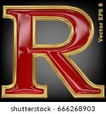 vector letter r from gold solid ... | Shutterstock .eps vector #666268903