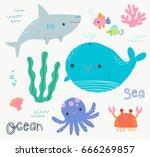 cute ocean animals clip art... | Shutterstock .eps vector #666269857