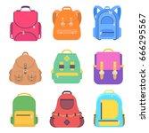 set bag school flat isolated on ...   Shutterstock .eps vector #666295567
