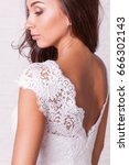 wedding dress. beautiful curly... | Shutterstock . vector #666302143
