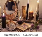 fortune telling still life with ... | Shutterstock . vector #666304063