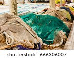 many fishing nets laid outdoor  ... | Shutterstock . vector #666306007